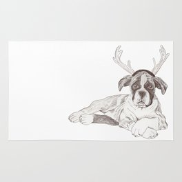 Boxer Puppy First Xmas Rug