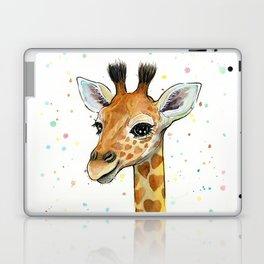 Giraffe Baby Animal with Hearts Watercolor Laptop & iPad Skin
