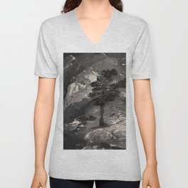 The Last Tree - black and white Unisex V-Neck