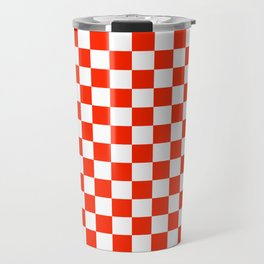 White and Scarlet Red Checkerboard Travel Mug