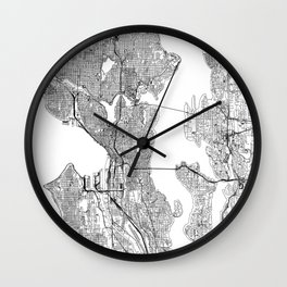 Seattle White Map Wall Clock