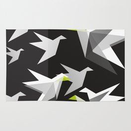 Black and White Paper Cranes Rug