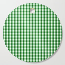 Mini Christmas Green Gingham Check on Snow White Cutting Board