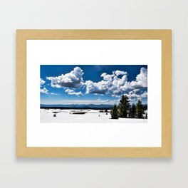 Cloudy Snowy Open Ladscape - Crater Lake National Park, Oregon Framed Art Print