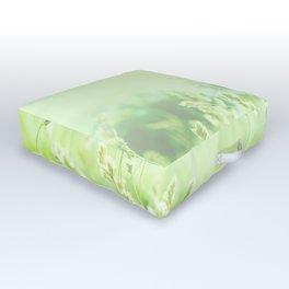 Green Butterfly, Wildflower Meadow, Summer Field Outdoor Floor Cushion