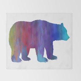 Rainbow Watercolor Dripping Bear Throw Blanket