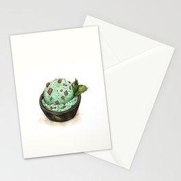 Mint Chocolate Chip Ice Cream Stationery Cards