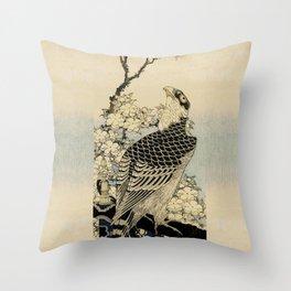 Hokusai -falcon next to a plum tree in bloom - 葛飾 北斎,hawk,bird. Throw Pillow
