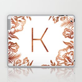 Letter K - Faux Rose Gold Glitter Flowers Laptop & iPad Skin