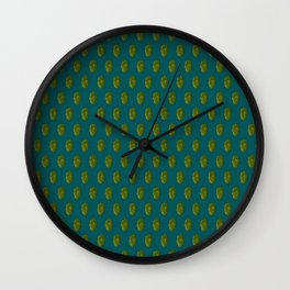 Hops Dark Cyan Pattern Wall Clock