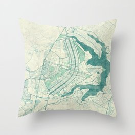 Brasilia Map Blue Vintage Throw Pillow