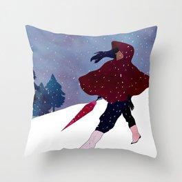walking on snow Throw Pillow