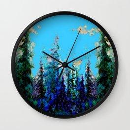 Scenic Blue-Purple Mountain Trees Landscape Wall Clock
