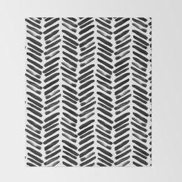 Simple black and white handrawn chevron - horizontal Throw Blanket