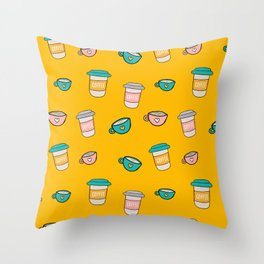 Happy coffee cups and mugs in yellow background Throw Pillow