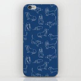 Basset Hounds Pattern on Navy Background iPhone Skin
