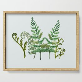Fern Collage with Light Blue Gray Background Serving Tray