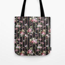 Elegant faux rose gold black stripes vintage blush pink lavender floral Tote Bag