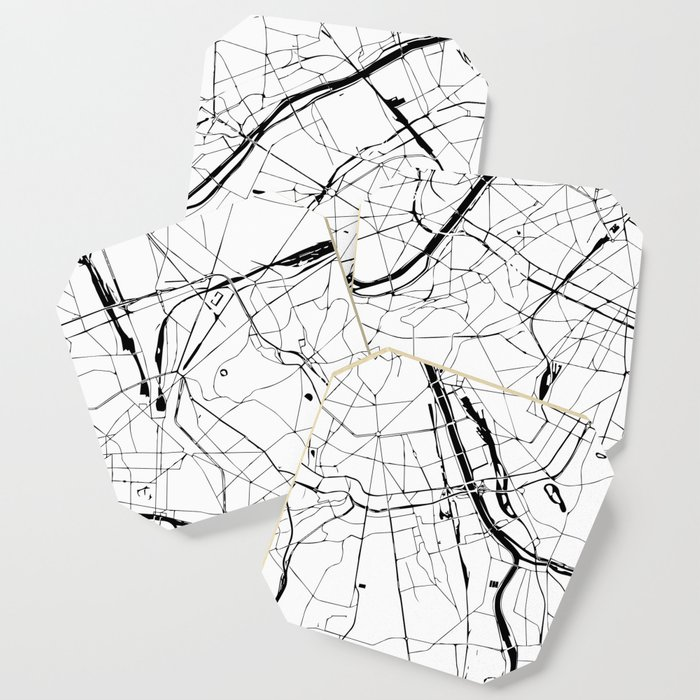Paris France Minimal Street Map - Black and White Coaster by ...