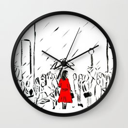 The Girl In The Red Rain Coat (Part 1)  Fine Art Acrylic Painting Wall Clock