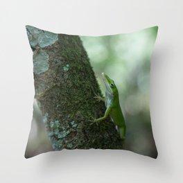 Green Anole Throw Pillow