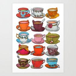 Vintage Teacups and Saucers Art Print