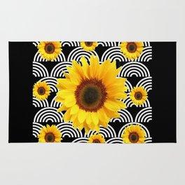 Decorative Black & Yellow Art Deco Sunflowers Rug
