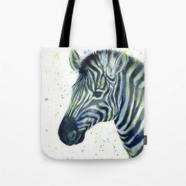 Zebra Watercolor Blue Green Animal Tote Bag