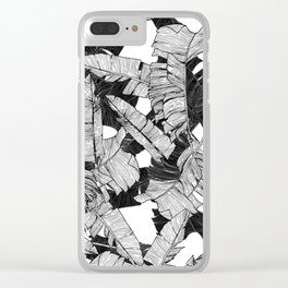 Modern Black and White Tropical Banana Leaves Clear iPhone Case