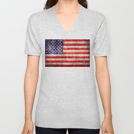 Antique American Flag Unisex V-Neck