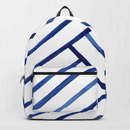 Watercolor lines pattern | Navy blue Backpack