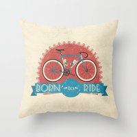 brompton Throw Pillows featuring Born to Ride by Wyatt Design