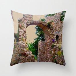 secret garden behind byzantine ruins Throw Pillow