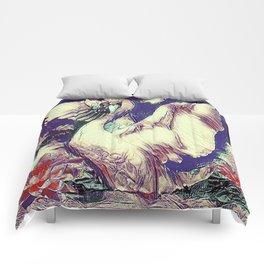 WHITE SWAN  PURPLE &  PINKISH  MODERN  WATER DESIGN Comforters