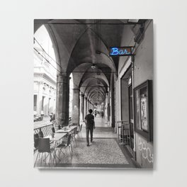 Black and white Bologna Street Photography Metal Print