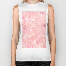 Blush pink abstract watercolor marble pattern Biker Tank