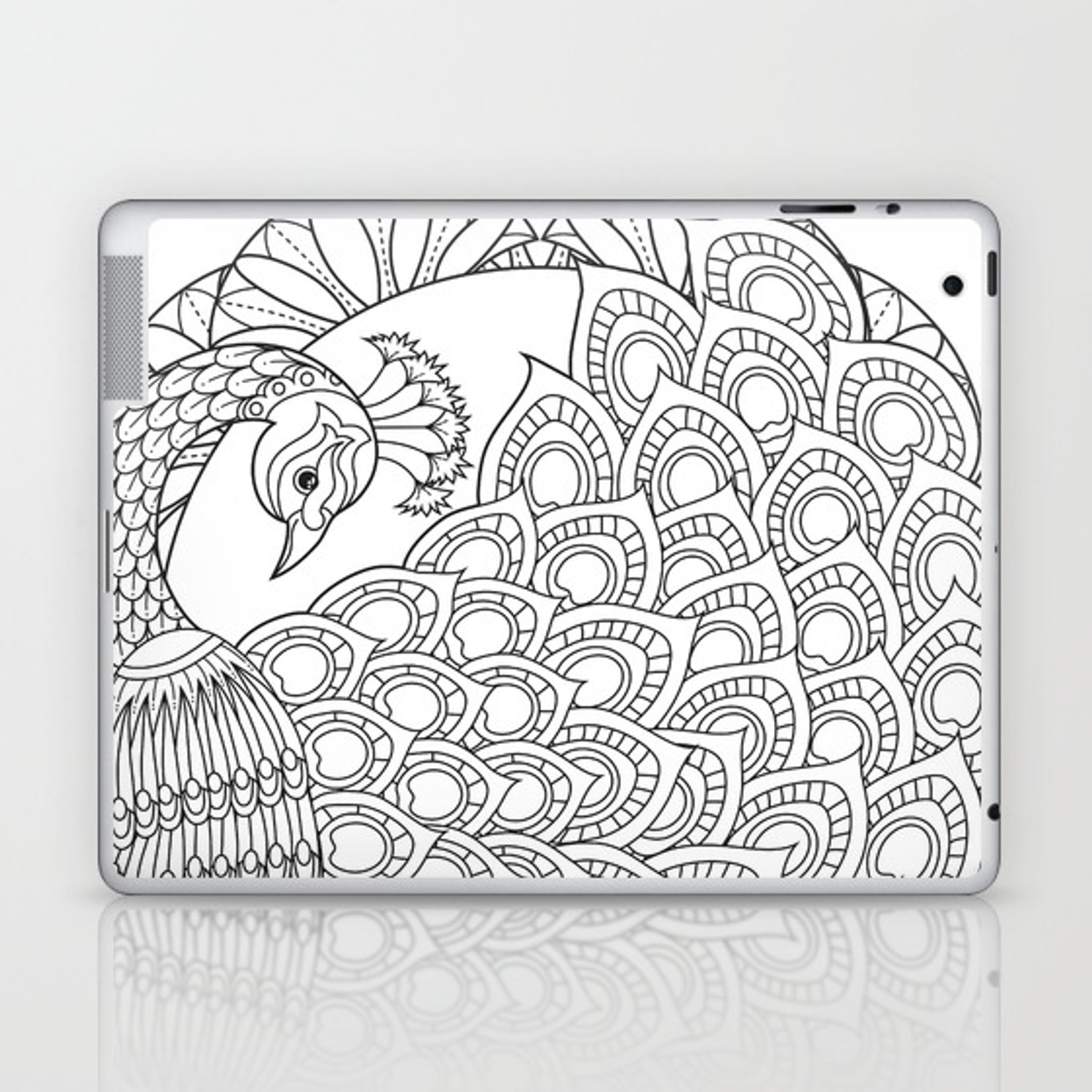 Peacock Mandala Art Color Your Own Laptop Ipad Skin By