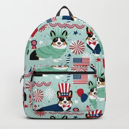 Tri Corgi Fourth of July American Independence Day July 4th Patriotic Corgis Backpack