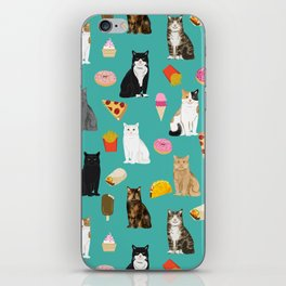 Cat breeds junk foods ice cream pizza tacos donuts purritos feline fans gifts iPhone Skin