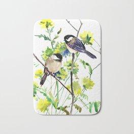 chickadees and Spring Blossom Bath Mat