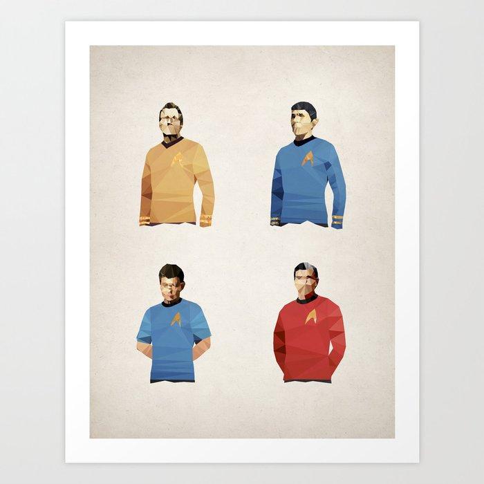 Polygon Heroes - Trekkies Art Print