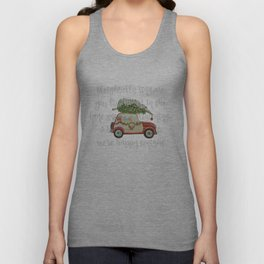 Vintage Christmas car with tree red Unisex Tank Top