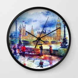 London Rain watercolor Wall Clock