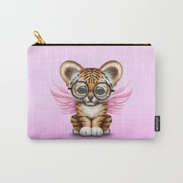 Tiger Cub with Fairy Wings Wearing Glasses on Pink Carry-All Pouch