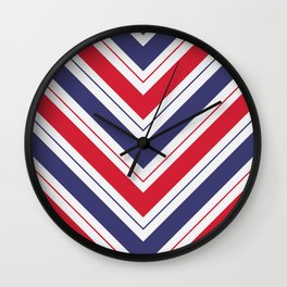 Patriotic Red White and Blue Chevron Stripes Wall Clock