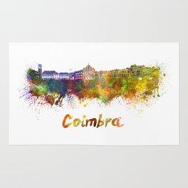 Coimbra skyline in watercolor Rug