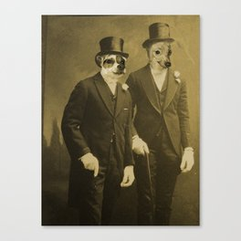 Top Coat Top Hat -Sharp Dressed Dogs Canvas Print