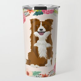border collie brown floral wreath dog gifts pet portraits Travel Mug