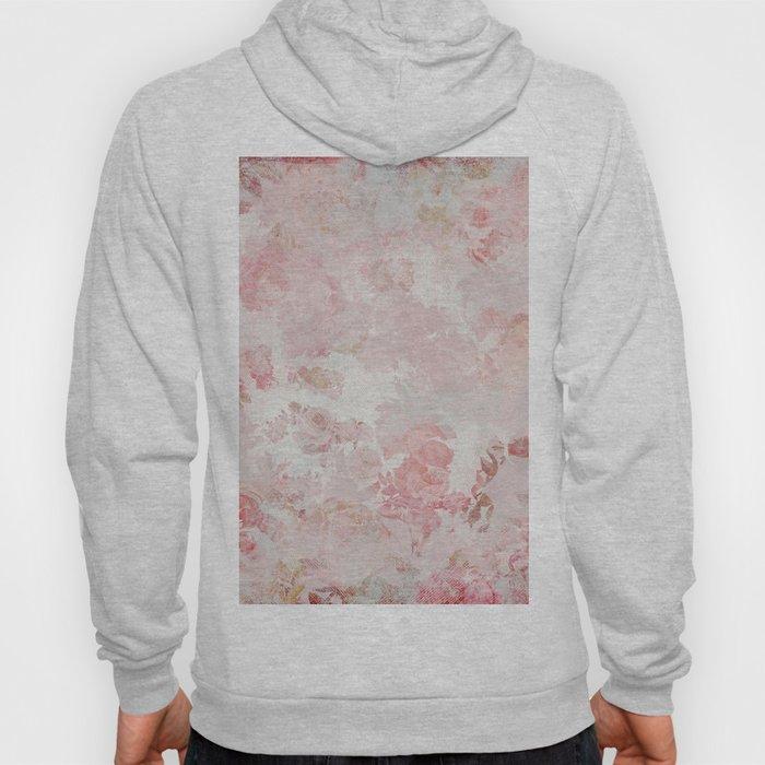 Vintage Floral Rose Roses painterly pattern in pink Hoody