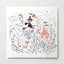 Little witch flying back home in Halloween Metal Print